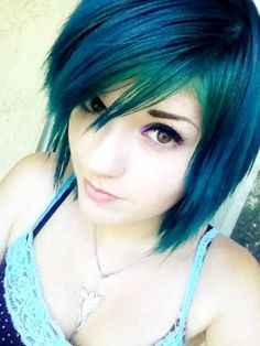 leda monster bunny short blue green hair