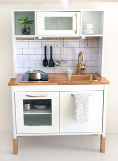 Since we bought Finlay an Ikea Duktig Play Kitchen, I've been looking on Pinterest and Instagram...