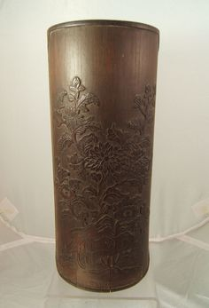 Chinese carved bamboo brush pot with calligraphy C19th brushpot , wood