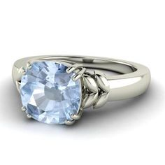 Cushion-Cut Aquamarine Ring in 14k White Gold