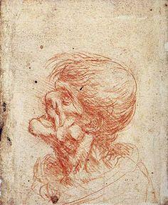 Leonardo Da Vinci Profile Study of a Grotesque Head, c.1500-1505