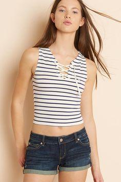 Striped Midi Lace-up Top