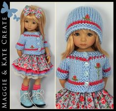 ** Blue & Coral Outfit ** Little Darlings Dianna Effner 13 Maggie & Kate Create