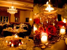 cranberry wedding cake initials | In the ballroom large hurricanes with floating candles and amber beads ...