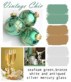 Seafoam green, bronze, white and silver antiqued mercury glass