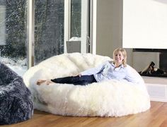 Sheepskin Bean Bag Chair There Are Many Colours And Sizes For Australian Lambskins|See How Lambskin Is The Softer Option}