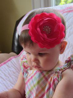 Newborn headband ~ Baby headband  ~ Newborn headbands ~ Baby headbands ~ Peony ~ Lacy ~ Magenta ~ Gem ~ Photo prop ~ Large flower