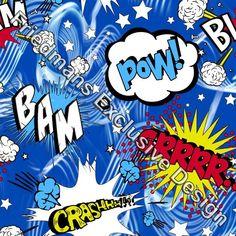 RUB621 Comic Bubble Blue | Printed Lycra Fabric | Printed Fabric | Stretch Fabric | Funki Fabrics | Cartoon Print