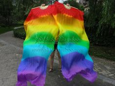 "1 pair Chinese belly dance silk fan veil, rainbow, 36"" x approx 72""  $32"