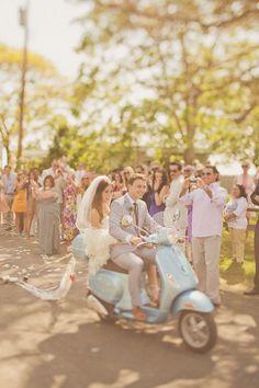 Wedding Getaway on a Vespa