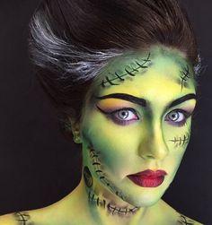 Halloween Makeup : Frankenstein make up Bride Of Frankenstein Costume, Frankenstein Face Paint, Disfarces Halloween, Halloween Makeup Looks, Halloween Costumes, Fx Makeup, Airbrush Makeup, Kryolan Makeup, Artistic Make Up