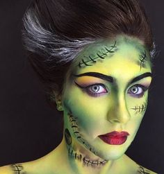 Halloween Makeup : Frankenstein make up Disfarces Halloween, Halloween Makeup Looks, Halloween Cosplay, Halloween Costumes, Bride Of Frankenstein Costume, Frankenstein Face Paint, Airbrush, Pelo Multicolor, Artistic Make Up