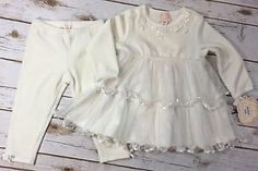 New Baby Biscotti Off White Velour Tulle Dress Pants Outfit Set Girl 24 Months | eBay