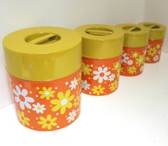 """;.>""""70s floral canisters~~ these are sooooo close to the ones my mom had!!!!"""