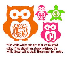 Monogrammed Animals 1 Color Owl Penguin Turtle by MontanaJC