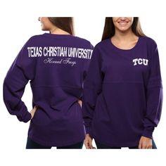 TCU Horned Frogs Women's Pom Pom Jersey Oversized Long Sleeve T-Shirt - Purple