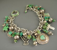 Vintage Navajo Green Turquoise Joan Slifka Cross Pendant Charm Bracelet Necklace | eBay