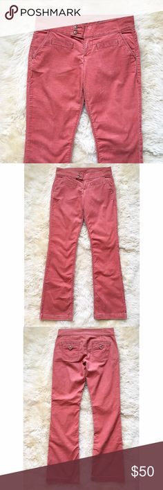 Anthropologie Salmon-Colored Corduroy Pants By Idra. Salmon colored corduroy pants with tiny flare at bottom. 2 front and back pockets. Button and zip fly closure. Worn only a few times!! Anthropologie Pants