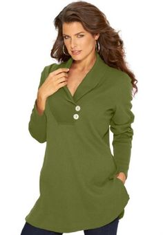 Roamans Women's Plus Size Thermal Knit Tunic With Shawl Collar (Basil,1X)