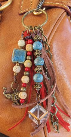 Purse Charm, Charm Tassel, Zipper Pull, Key Chain - Red, Leaded Glass, Ceramic, Brass, Coral, Elephant, Brown, Cream, Green Turquoise