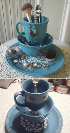 From Tea To Décor 25 Gorgeous Projects To Upcycle Old Teacups - Kronleuchter Cup And Saucer Crafts, Coffee Cup Crafts, Floating Tea Cup, Teacup Crafts, Teacup Decor, Makeup Stand, China Crafts, Turkish Coffee Cups, Diy Crafts To Sell