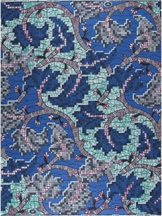 There's more to this entrancing Super-wax fabric than meets the eye. At first glance you may see leaves or flowers, but look a little closer and you will see they are made of intricate little squares.