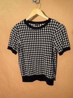 Womens I Heart Ronson Houndstooth Black White Knit Pullover Top Blouse M Medium  #IHeartRonson #Pullover #Casual