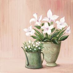 A. S.: Zarte Blumen - Original auf Leinwand 50 x 50 cm X212979 Artland Blumen & Pflanzen Stillleben - Vorschau 1