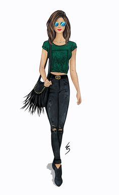 Lydia Snowden Fashion Illustration. Hunter green shirt, black jeans, boots and bag with fringing detail.