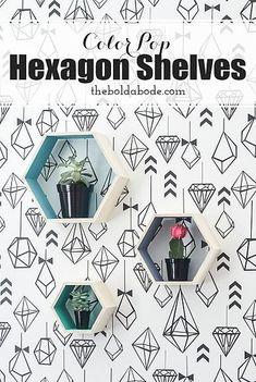 DecoArt Blog | The Bold Abode | Color Pop Hexagon Shelves #decoartprojects #decoart #madeformakers #americana