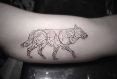 fine line style geometric wolf tattoo on the left... - Little Tattoos for Men and Women