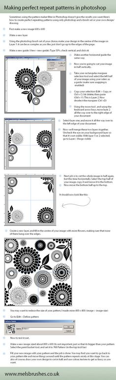 repeat patterns in photoshop -- I suck at getting it perfect so I'll have to check this out