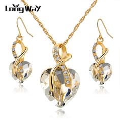 Austrian Crystal Necklace Earrings Set Luxury Gold Plated Heart Crystal Jewelry Set For Women Engagement Jewelry Sets SET140044 -  http://mixre.com/austrian-crystal-necklace-earrings-set-luxury-gold-plated-heart-crystal-jewelry-set-for-women-engagement-jewelry-sets-set140044/  #JewelrySets