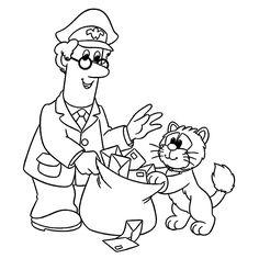 Leuk voor kids kleurplaat ~ Pieter en Smoes met een postzak