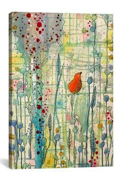 Solo song in technicolor, bird canvas