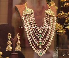 Enormous Nizam inspired designer bridal necklace in 4 step design with diamond and ruby delicate chains suspended with polki drops all over. India Jewelry, Gold Jewelry, Jewellery Sale, Lotus Jewelry, Jewellery Earrings, Indian Jewellery Design, Jewelry Design, Bridal Necklace, Wedding Jewelry