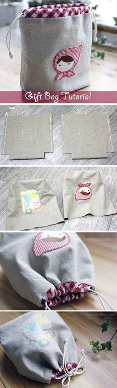 Drawstring Bag Tutorial, Gift Bags. Idea Drawstring Pouch. Pattern + DIY in Pictures. http://www.handmadiya.com/2015/11/fabric-gift-bag-tutorial.html