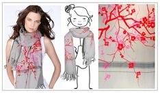 leigh & luca - flowers trees grey colorful scarf