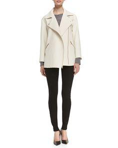 Eva Crepe Asymmetric Zip Jacket, Carmen Long-Sleeve Slub Tee & Stick Denim Jeans by MARC by Marc Jacobs at Bergdorf Goodman.