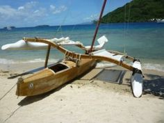Double Outrigger Sailing Canoe in Tahiti | Small Trimarans