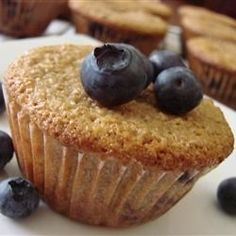The blueberries and orange zest add a special touch to ordinary bran muffins.