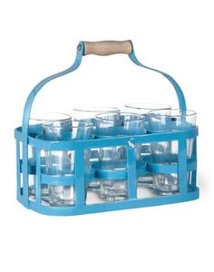 Joules Tin Glass Carrier, Blue.                     Make light work of carrying glasses full of cool drinks to your guests with our useful glass carrier.  Made from strong powder coated steel, with a curved wooden handle this pretty pale blue carrier comes complete with six glasses.