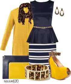 """""""Navy Blue and Yellow gone a bit wild"""" by tezza630 on Polyvore  Navy and Yellow contest 02.15.2013"""