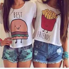 🍟Best Friends Crop Tops Lot of 2 size L🍔 Lot of 2 crop top BFF shirts. Bff Shirts, Best Friend T Shirts, Best Friend Outfits, Best Friend Stuff, Friends Shirts, Best Friend Clothes, Teen Shirts, Best Friend Matching Shirts, Couple Tshirts
