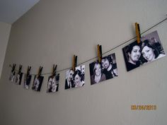 Quick and cute way to hang pictures without a frame and it doesn't look tacky! Mod Podge glitter on the clothespins for extra fun :) Picture Shelves, Picture Wall, Picture Frames, Pink Wallpaper, Wall Wallpaper, Polaroid Wall, Room Of One's Own, Room Paint Colors, Wall Collage