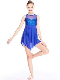 Lyrical Dance Dresses, Dance Costumes Lyrical, Theatre Costumes, Dance Outfits, Illusion Dress, Sequin Tank Tops, Costume Dress, Dress Brands, Blue Dresses