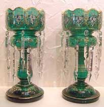 Pair Of Victorian Green Double Row Lustre Vases   c.1880