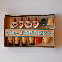 Party Toppers Vintage Paper Santa Claus Snowman Christmas Tree Kitsch 1950s