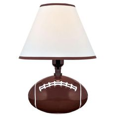 Lite Source Pass Me Table Lamp in Football Ceramic Body with Fabric Shade