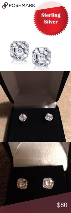 NEW STUNNING ASSCHER CUT STUDS NEW AND STUNNING 2 CTW SWAROVSKI ASSCHER CUT ELEMENTS SET IN STERLING SILVER WITH BUTTERFLY BACKS THESE BEAUTIES MEASURE APPROX 6MM X 6MM RETAIL IS $420 TAKE ADVANTAGE IF THIS SALE PRICE includes black velvet gift box JADE NEW YORK Jewelry Earrings